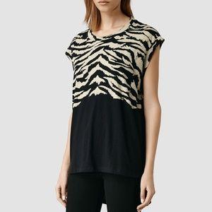 ALL SAINTS Tigre Curved Animal Print Tee Black